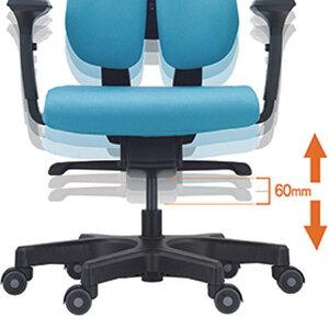 オフィスチェア背面2分割デュオレスト学習チェア調整可オレンジグレー青緑DUORESTドリームウェア