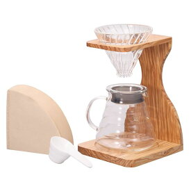 V60 オリーブスタンドセット VSS-1206-OVコーヒーメーカー 耐熱ガラス セット オリーブ coffee ハリオ お洒落 ナチュラル 木製 HARIO 【D】