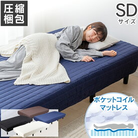 《着後レビューでプレゼント》ベッド セミダブル 脚付き 脚付きマットレス SD AATM-SD送料無料 マットレス すのこベッド ベッド 脚付き 圧縮梱包 寝具 インテリア 通気性 簡単組立 アイボリー ブラック