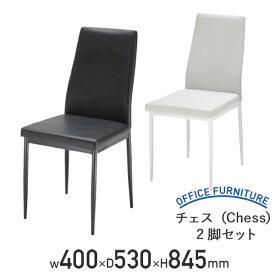 【法人宛限定】チェス(Chess) W400 D530 H845 2脚セット PVC ウレタンフォーム スチール チェア オフィスチェア ラウンジチェア ダイニングチェア ブラック/ホワイト AK-TDC977