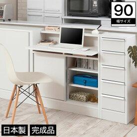 カウンター下 パソコンキャビネット 幅90 木製 幅木避け 可動棚 ホワイト 完成品 日本製