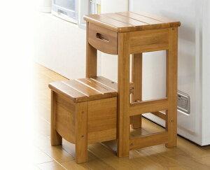 木製踏み台 収納付きカントリー調 2段収納付き 踏み台 ステップ 便利収納踏み台 スツール 椅子 ラック 踏み台 ステップ 脚立 小物入れ 収納ラック 木製 天然木使用 高さ50.5cm いす 収納ケース