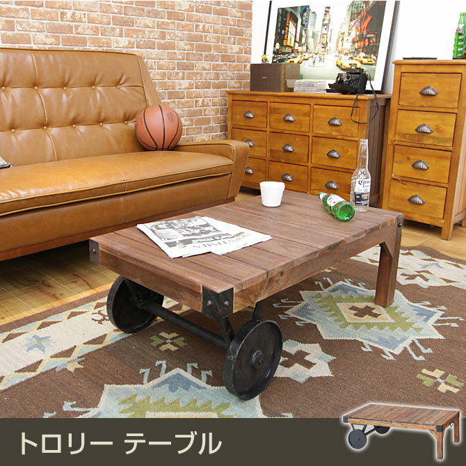Table Center Table Trolley Table Width 106 Cm Natural Wood American  West Coast Style W American Vintage Retro Wooden Living Table Coffee Table