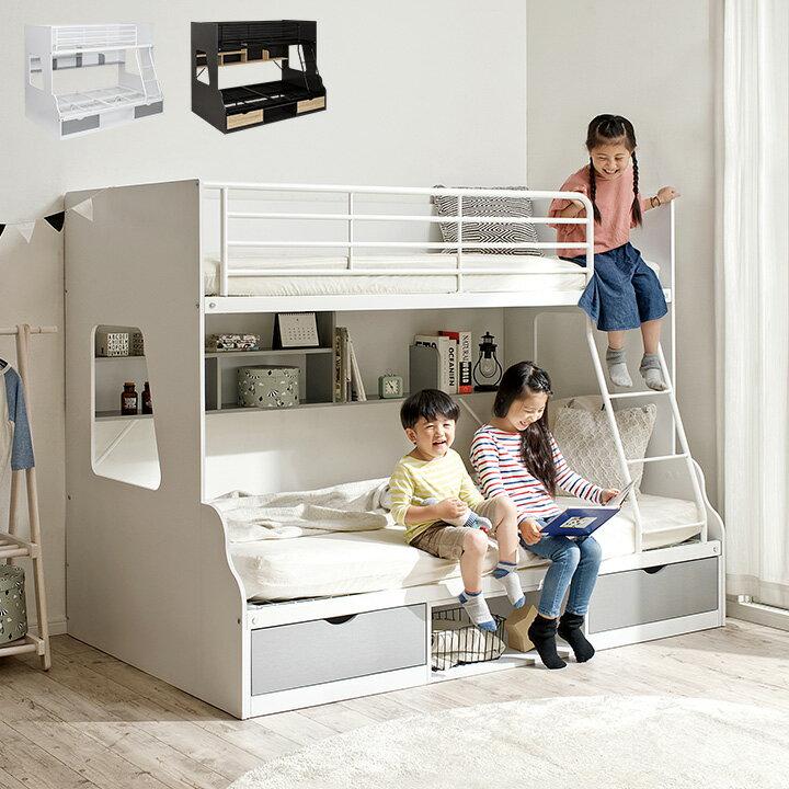 親子で使える 二段ベッド Lagos(ラゴス) シングル+セミダブル 2色対応 二段ベット 2段ベッド 2段ベット 親子二段ベッド 親子2段ベッド 親子ベッド ベッド 添い寝 木製 引き出し収納 ラック収納