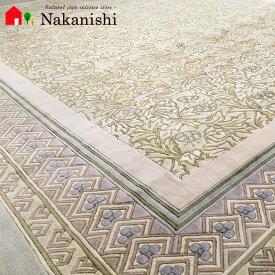 【中国段通 シルク 約3畳用】「Morris Garden」絨毯(じゅうたん)・カーペット・ラグ・絹(シルク)100%・約169×247cm・120段