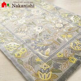 【中国段通 シルク 玄関マット 詩】絨毯(じゅうたん)・カーペット・ラグ・絹(シルク)100%・約68.5×122cm・グレー