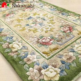【中国段通 シルク 玄関マット グリーンガーデン】絨毯(じゅうたん)・カーペット・ラグ・絹(シルク)100%・約63×93cm・グリーン