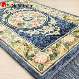 【中国段通 シルク 玄関マット】「Circle」絨毯(じゅうたん)・カーペット・ラグ・絹(シルク)100%・約61×92cm・120段・ブルー系