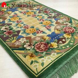 【中国段通 シルク 玄関マット 扇子】絨毯(じゅうたん)・カーペット・ラグ・絹(シルク)100%・約63×94cm・120段・グリーン