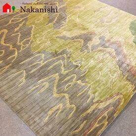 【中国段通 シルク 約2畳用】「黄河の流れ」絨毯(じゅうたん)・カーペット・ラグ・絹(シルク)100%・約198×203cm【代引不可】