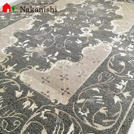 【中国段通 ウール 約3畳用】「美の都、栄光の都」ネパール・絨毯(じゅうたん)・カーペット・ラグ・毛(ウール)100%・約172×243cm・100段・グレー【代引不可】