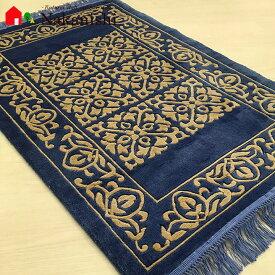 【中国段通 シルク 玄関マット】「高山流水」絨毯(じゅうたん)・カーペット・ラグ・絹(シルク)100%・約62×92cm・120段・ブルー系