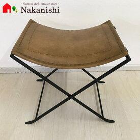 【レザーフォールディングスツール INHF090】レザースツール・本革椅子・チェア・アイアン・アンティーク・レトロ・ヴィンテージ