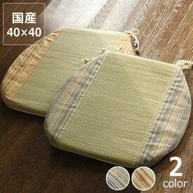 い草馬蹄クッション「紗々(さしゃ)」(40×40cm)座布団 ざぶとん リビングクッション 日本製 イス 椅子 いす チェアー チェアクッション たたみ 和柄 涼しい い草クッション 父の日