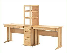 リビングにも馴染みやすいシンプルデザインの学習机2点セット(デスク×2+ラック)100cm幅 棚付き ナチュラル