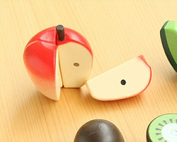 WOODY PUDDY(ウッディプッディ)はじめてのおままごと りんご お母さん ごっこ遊び ママ なりきり 真似 マネ 子供 子ども キッズ toy おもちゃ 玩具 木製 食育 知育 調理 マグネット式 磁石 切れる 天然木 野菜 果物 輪切り 半分 リンゴ