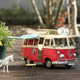 レトロなルックスのブリキ風 タープ付キャンピングカー※キャンセル不可 おしゃれ 北欧 海外 アンティーク レトロ 置物 インテリア 置き物 車 ブリティッシュ 雑貨 ヴィンテージカー ミニ 小物