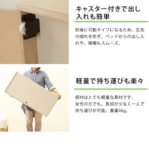 ベッド下の収納スペースにNBシリーズ収納ボックス(桐)おしゃれベッド下収納ボックスキャスター付き収納ケース引き出しベット下収納シンプルナチュラル収納家具モダン