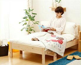 ひのき無垢材を使用した伸縮自在シングルベッド(専用敷き布団+シーツ付き)伸縮ベッド/伸張式ベッド/すのこベッド/ソファーベッド