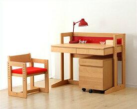 【杉工場】【MUCMOC(ムックモック)】木の学習机3点セット(デスク+ワゴン+チェア)94cm幅