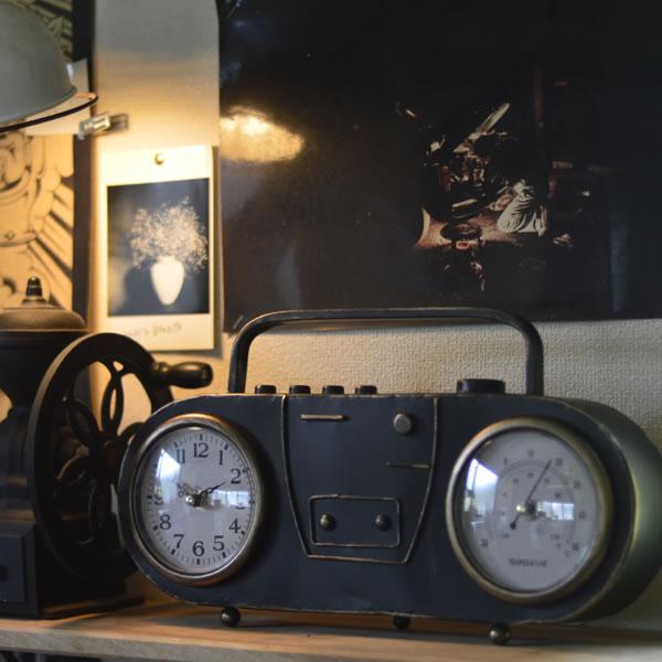 ラフで無骨なヴィンテージ感アンティークラジオ風 置き時計