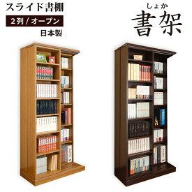 スライド書棚 本棚 書棚 スライド 大容量 国産 高級 書架シリーズ 日本製 幅84 高さ192cm 扉無しオープン 2列 二重レール 奥行拡大 高性能ベアリングローラー 関東地区は組立サービス込み 楽ギフ_のし RCP