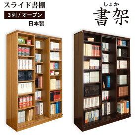 本棚 大容量 スライド式 日本製 高級 スライド 書棚 書架奥行拡大 スライド書棚 扉無しオープン3列 二重レール 幅127 高さ192cm 高性能ベアリングローラー 楽ギフ_のし RCP