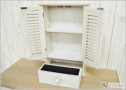 壁掛けキャビネット(収納棚アンティーク雑貨木製白ホワイトシャビー家具シャビーシック)【送料無料】