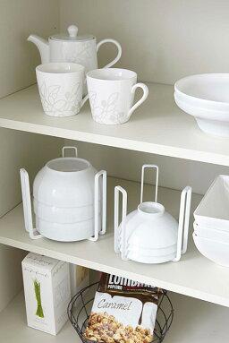 ボウルストレージタワーL[食器皿お皿シンク下棚収納スタンド重ね置きボウルスタンド]PVSWKPVSBK