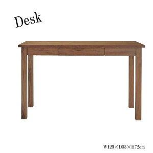 デスク テーブル 机 PCデスク 学習机 作業台 ワークテーブル 引出付 天然木 幅120cm ウォールナット AZ-0237