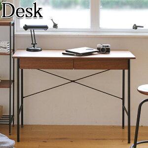 デスク 机 テーブル 作業台 作業テーブル 収納 アイアン ウォールナット スチール 天然木 木製 IT-0010