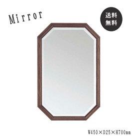 ウォールミラー 鏡 ミラー 壁掛け 壁掛ミラー 八角形 四角 インテリア 木製 天然木 面取り加工 飛散防止加工 ブラウン SI-0027