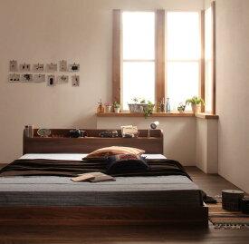 ベッド フロアベッド 【ボンネルコイルマットレス付き】ダブル 欧州風の木目を贅沢に使ったベッド ロータイプベッド ローベット 木製ベット ロータイプ ブラウン ホワイト ヘッドボード 送料無料(ブラックフライデー)