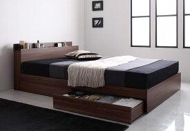 棚・コンセント付き収納ベッド【ボンネルコイルマットレス付き】ダブル(ブラックフライデー)