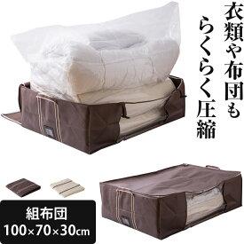 【あす楽】圧縮袋 布団圧縮袋 ボックス一体型 ≪2個以上で送料無料≫ 組布団用サイズ(幅100×奥70×高30cm) バルブ式