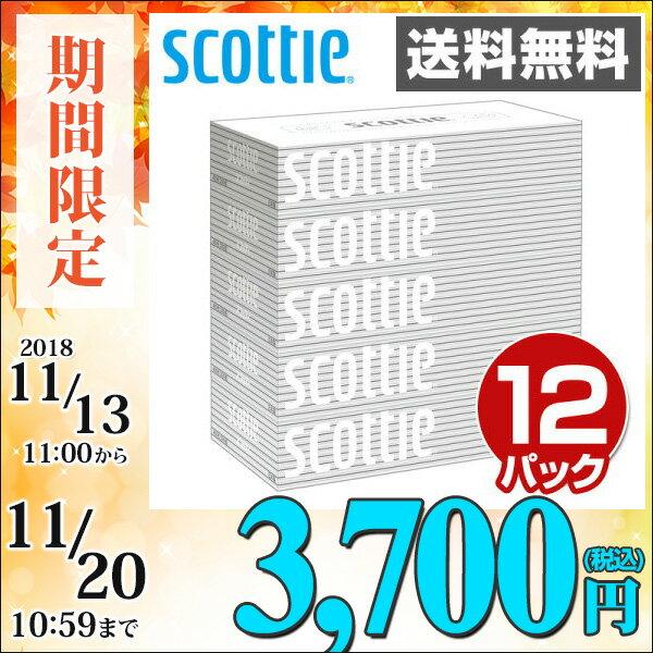 日本製紙クレシア スコッティ (SCOTTIE) ティッシュペーパー 200組5箱×12パック(60箱) 41735 ティシュペーパー まとめ買い ケース販売 ボックスティッシュ 日用品 【送料無料】