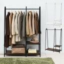 ハンガーラック おしゃれ 棚付き 幅107 ワイド ASH-C ダブル クローゼット ワードローブ ラック 棚 洋服収納 衣類収納…