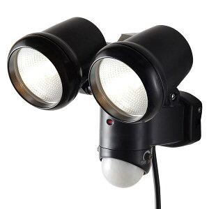 大進(ダイシン) センサーライト/ハロゲン 2灯/AC電源 DLA-2T100 ブラック ハロゲンセンサーライト 防犯ライト センサー付ライト 人感センサー