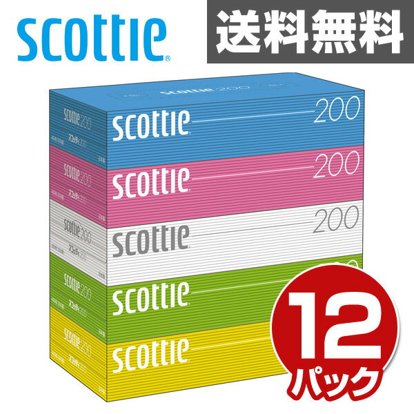 日本製紙クレシア スコッティ (SCOTTIE) ティッシュペーパー 400枚(200組)5箱×12パック(60箱) 41745 ティシュペーパー まとめ買い ケース販売 ボックスティッシュ 日用品 【送料無料】