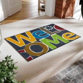 玄関マット 屋外 室内 屋内 洗える 薄型 玄関マット かわいい 丸洗い 玄関マット ウォッシャブル エントランスマットIAA-6882(ウォッシュアンドドライ)Welcome Letters 50×75cm