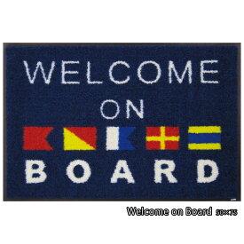 玄関マット 屋外 室内 屋内 洗える 薄型 玄関マット かわいい 丸洗い 玄関マット ウォッシャブル エントランスマットIAA-6887(ウォッシュアンドドライ)Welcome on Board 50×75cm