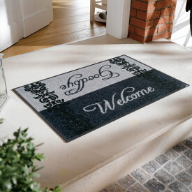 玄関マット 屋外 室内 屋内 洗える 薄型 玄関マット かわいい 丸洗い 玄関マット ウォッシャブル エントランスマットIAA-6889(ウォッシュアンドドライ)Welcome & Goodbye 50×75cm