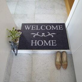 玄関マット 屋外 室内 屋内 洗える 薄型 玄関マット かわいい 丸洗い 玄関マット ウォッシャブル エントランスマットIAA-6891(ウォッシュアンドドライ)Welcome Home anthrazit 50×75cm