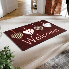 【キャッスレス5%還元】 玄関マット 屋外 室内 屋内 洗える 薄型 玄関マット かわいい 丸洗い 玄関マット ウォッシャブル エントランスマットIAA-6892(ウォッシュアンドドライ)Cottage Hearts 50×75cm