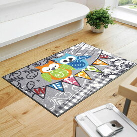 玄関マット 屋外 室内 屋内 洗える 薄型 玄関マット かわいい 丸洗い 玄関マット ウォッシャブル エントランスマットIAA-6899(ウォッシュアンドドライ)Welcome Owls 50×75cm