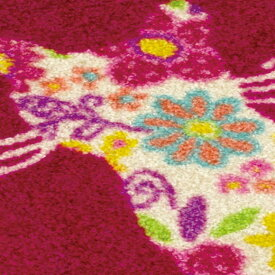 玄関マット 屋外 室内 屋内 洗える 薄型 玄関マット かわいい 丸洗い 玄関マット ウォッシャブル エントランスマットIAA-6907(ウォッシュアンドドライ)Flower Cat 50×75cm