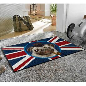 【キャッスレス5%還元】 玄関マット 屋外 室内 屋内 洗える 薄型 玄関マット かわいい 丸洗い 玄関マット ウォッシャブル エントランスマットIAA-6913(ウォッシュアンドドライ)British Pug 50×75cm