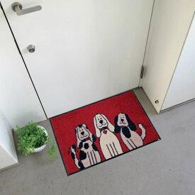 【キャッスレス5%還元】 玄関マット 屋外 室内 屋内 洗える 薄型 玄関マット かわいい 丸洗い 玄関マット ウォッシャブル エントランスマットIAA-6914(ウォッシュアンドドライ)Three Dogs 50×75cm