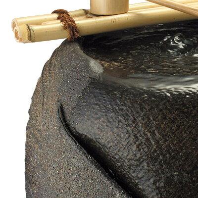 響(竹しゃく付)水流つくばい陶器信楽焼水琴循環式電動涼ディスプレ風情おしゃれ和
