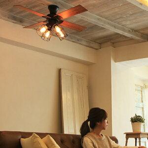 レトロ4灯シーリングファン電球付LED対応リモコン付エジソン電球JE-CF001Vブラックヴィンテージビンテージ昭和レトロVintageおしゃれリラックスカフェ風インテリアシーリングファンライトシーリングライト天井照明